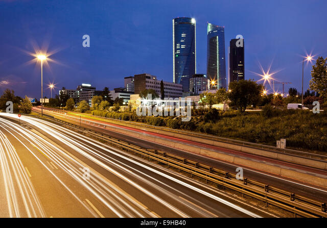 Three office towers of the Cuatro Torres Business Area, Madrid, Spain - Stock Image