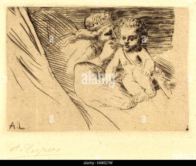 Alphonse Legros, Mab and Cupid (Mab et Cupidon), French, 1837-1911, etching - Stock-Bilder