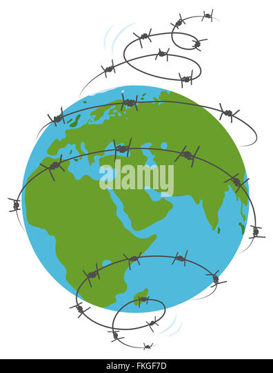 Barbed wired earth - Stock Image