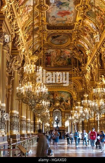 Inside the Palais Garnier Paris France - Stock Image