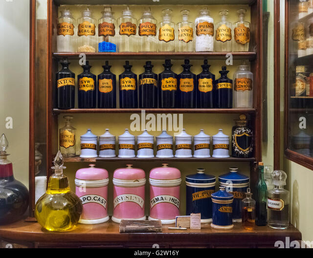 Reproduction of a Pharmacy in the Victorian era, Museum of London, London, UK - Stock Image