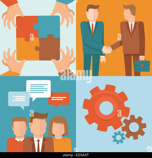 Teamwork and cooperation concepts in flat style - business and partnership infographic design elements - Stock Image