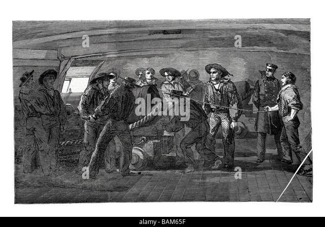 gunnery practice firing on board the st jean d acre cannon shot fire powder gun blast weapon - Stock Image