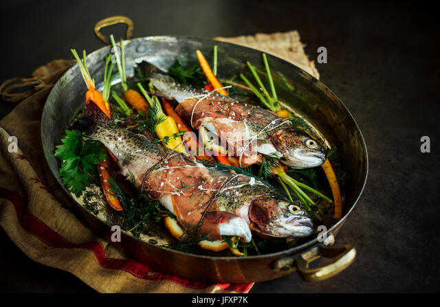 baked trout - Stock Image
