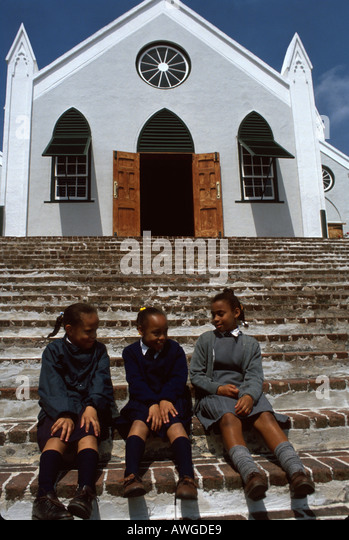 Bermuda St. George St. Peter's Church built 1600s Anglican Protestant students uniforms nation - Stock Image