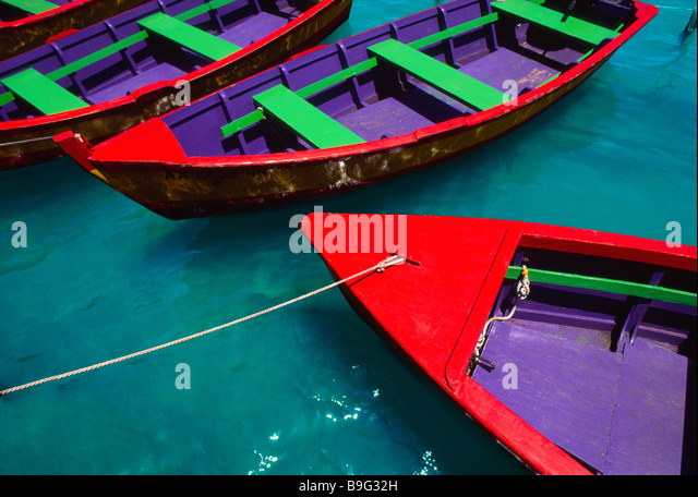 Colorful wooden rowboats Puerto Rico - Stock Image