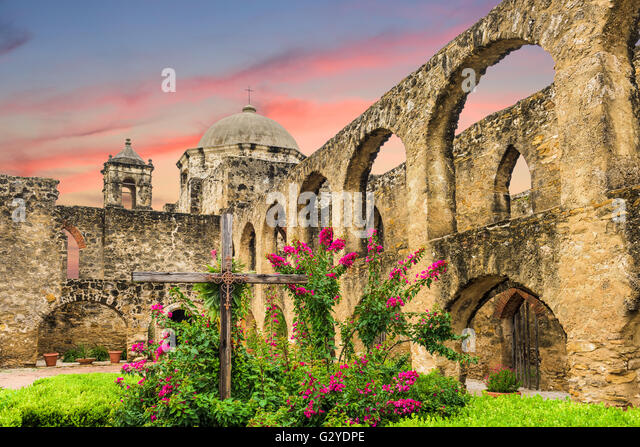 Mission San Jose in San Antonio, Texas, USA. - Stock Image