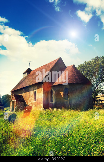 sunshine rural church - Stock Image