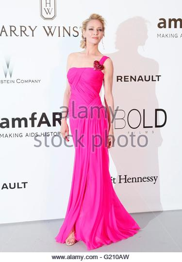 epa05317632 US actress Uma Thurman attends the Cinema Against AIDS amfAR gala 2016 held at the Hotel du Cap, Eden - Stock Image