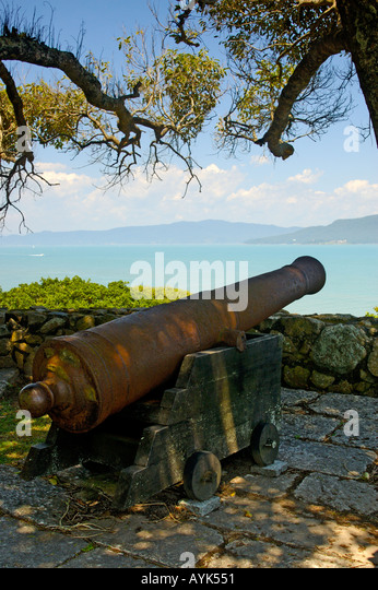 Florianopolis Brazil artillery Fort fortification Arms battery canon canonry force gunnery munitions weapon gun - Stock Image