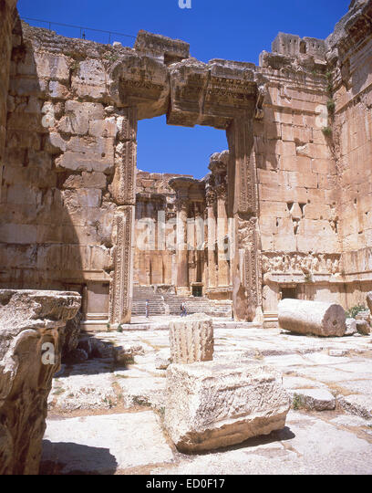 Entrance to Temple Of Bacchus, Baalbeck, Bekaa Valley, Republic of Lebanon - Stock Image