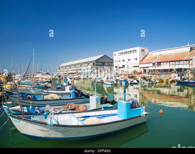 fishing port in jaffa area of tel aviv israel - Stock Image