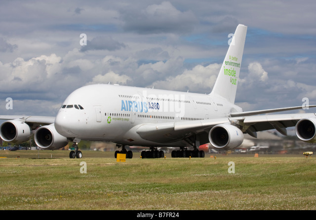 Airbus A380 about to take off on runway at Farnborough International Airshow 2008 UK - Stock Image