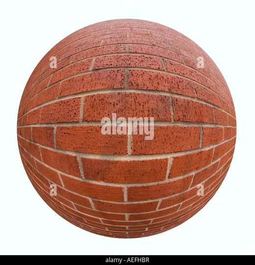 Brick wall taken using a fisheye lens - Stock Image