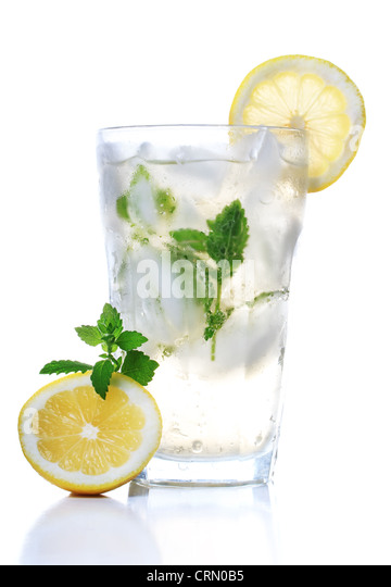 Cold soft drink with lemon and mint - Stock Image