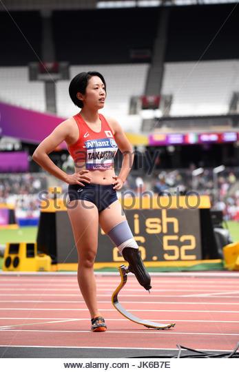 Single blade runner at the World Para Athletics Championships - Stock Image