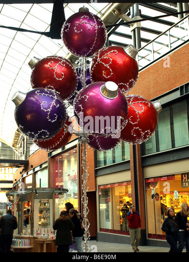 Christmas decorations in cabot circus stock photos Unique christmas decorations uk