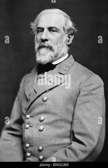 Portrait photo circa 1864 of General Robert E Lee (1807 - 1870) - iconic Confederate commander in the American Civil - Stock Image