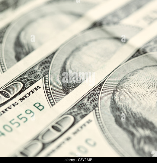 Think! -- American dollars bank notes close-up. Shallow DOF - Stock Image