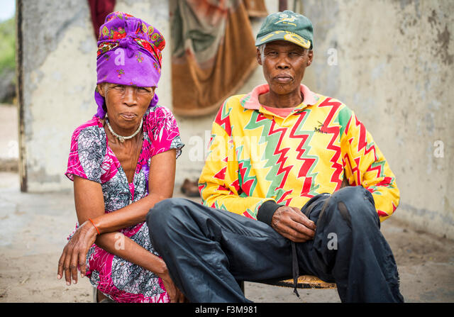 Portrait,Couple,Mature,Botswana,Bushman - Stock Image