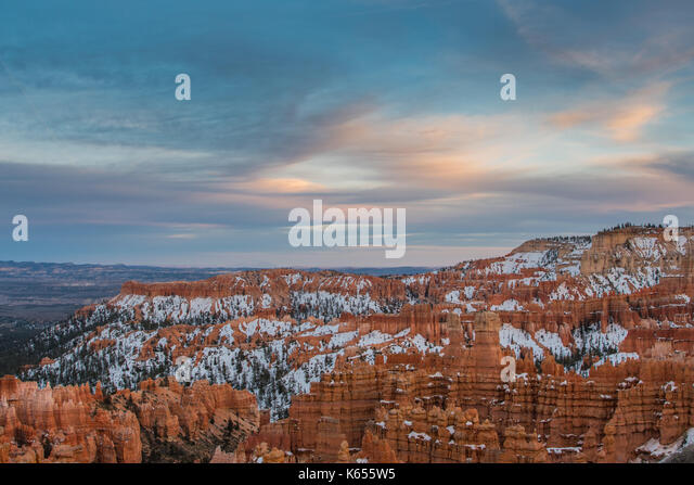 Soft Sunset Light Begins Over Bryce Canyon - Stock Image