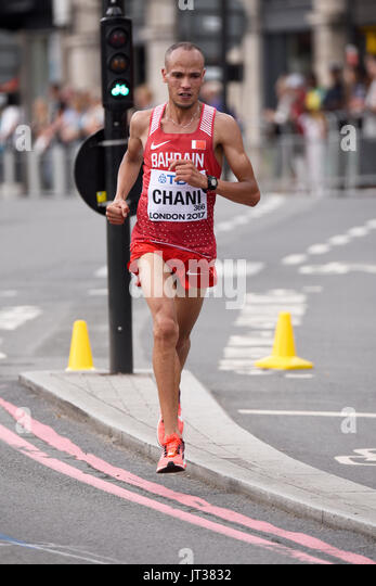 Hassan Chani of Bahrain running in the IAAF World Championships 2017 Marathon race in London, UK. Space for copy - Stock Image