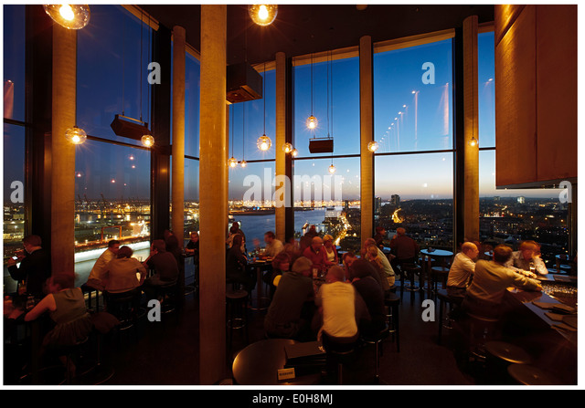 Bar 20up, twentieth floor of the Empire Riverside Hotel, St. Pauli, Hamburg, Germany - Stock Image