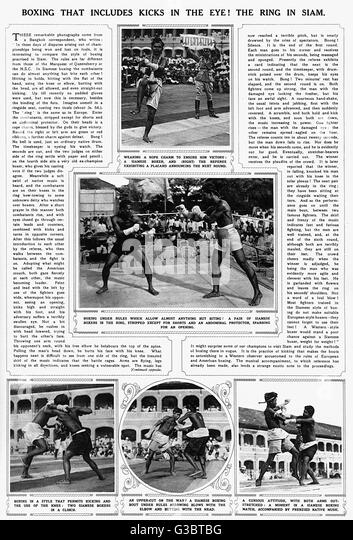 A page from The Illustrated London News, illustrating Siamese boxing, also known as Muay Thai or kick boxing.   - Stock Image