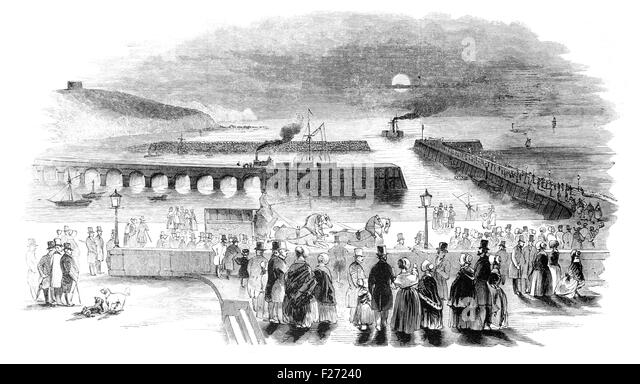 Arrival of the Indian Mail at Folkestone. Illustrated London News July 1844; Black and White Illustration; - Stock Image