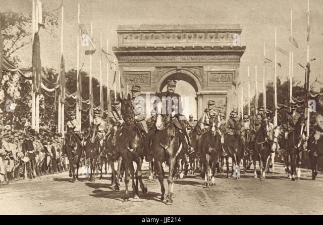 Victory parade Paris France, Marshals Foch & Joffre - Stock Image