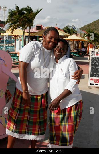 Sint Maarten Philipsburg Dutch Black females souvenir vendors - Stock Image