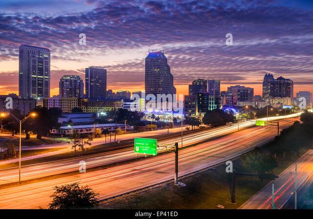 Orlando, Florida, USA skyline over the highway. - Stock Image