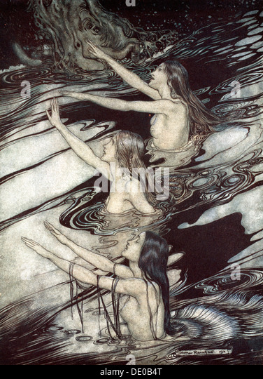 'Siegfried! Siegfried! Our warning is true: flee, oh flee from the curse!', 1924.  Artist: Arthur Rackham - Stock Image