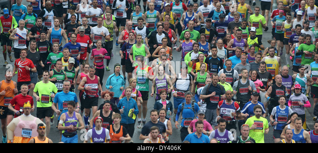 Runners compete in the 5th Brighton Marathon. Picture by James Boardman - Stock Image
