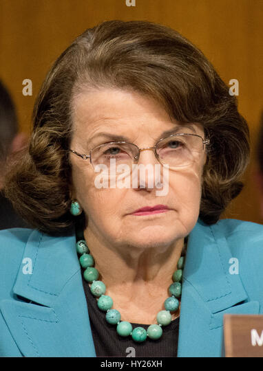 Washington, US. 30th Mar, 2017.  United States Senator Dianne Feinstein (Democrat of California), questions the - Stock Image