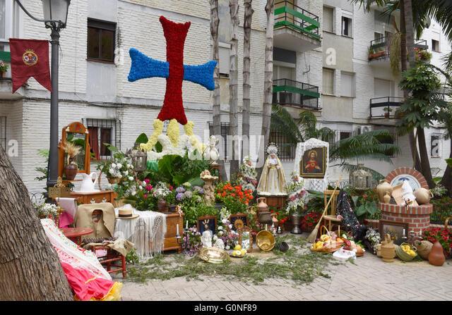 May crosses Cruces de Mayo Festival in Estepona, Andalucia, Spain. Plaza del Rocío. - Stock Image