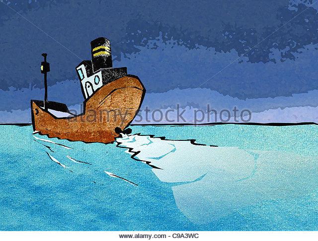 Steamer ship seelenverkufer sea See seafaring horizon distant - Stock Image