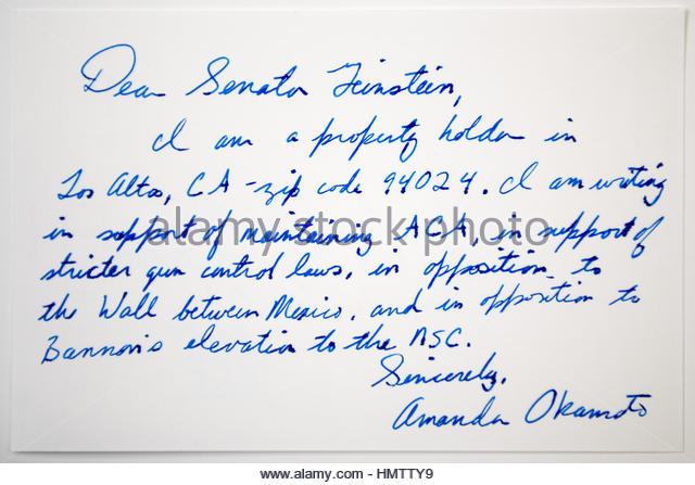 Tokyo, Japan. 4th Feb, 2017. Postcard for Senator Dianne Goldman Berman Feinstein in Tokyo, Japan. A member of the - Stock Image