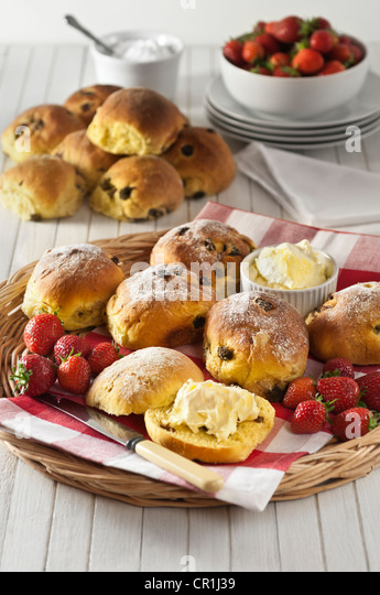 Cornish saffron buns with clotted cream Regional food UK - Stock Image