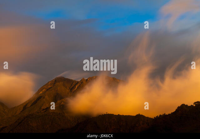 Colorful clouds at sunset in Volcan Baru National Park, Chiriqui province, Republic of Panama. - Stock-Bilder
