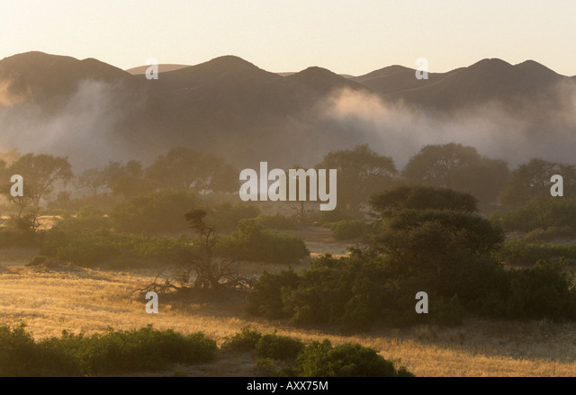 Landscape Dry River, Hoanib, Kaokoland, Namibia - Stock Image