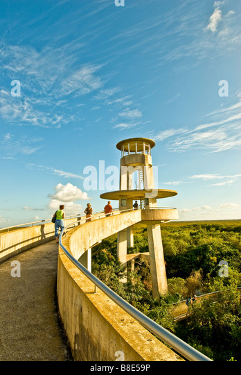 Everglades National Park Florida Shark Valley observation tower showing the spiral loop to overlook platform - Stock Image