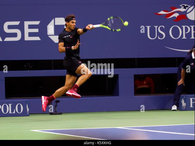 New York, United States. 10th Sep, 2017. US Open Tennis: New York, 10 September, 2017 - Rafael Nadal of Spain goes - Stock Image
