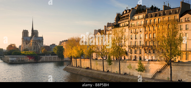 Notre Dame viewed over the river Seine in the evening light Paris France - Stock Image