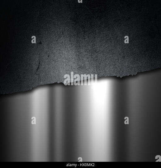 Grunge cracked concrete on a brushed metal background - Stock Image