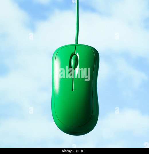 green computer mouse - Stock Image