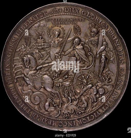 Sebastian Dadler, Triumph of King Gustavus Adolphus, German, 1586 - 1657, 1634, silver - Stock Image