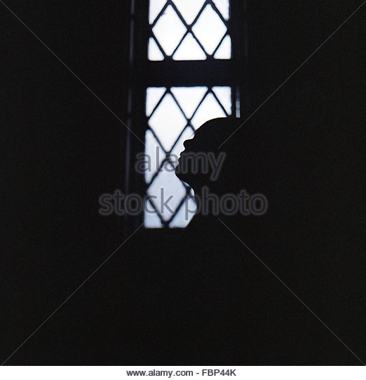 Silhouette Woman At Home - Stock Image