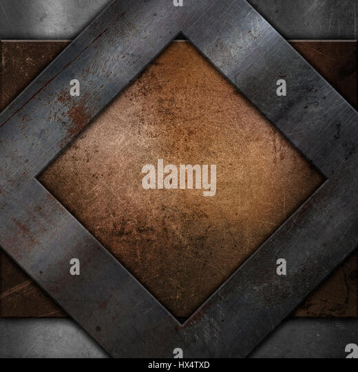 metal textured background with a grunge metallic frame - Stock Image