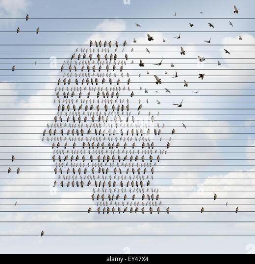 Alzheimer disease concept as a medical mental health care idea as a group of perched birds on an electrical wire - Stock-Bilder